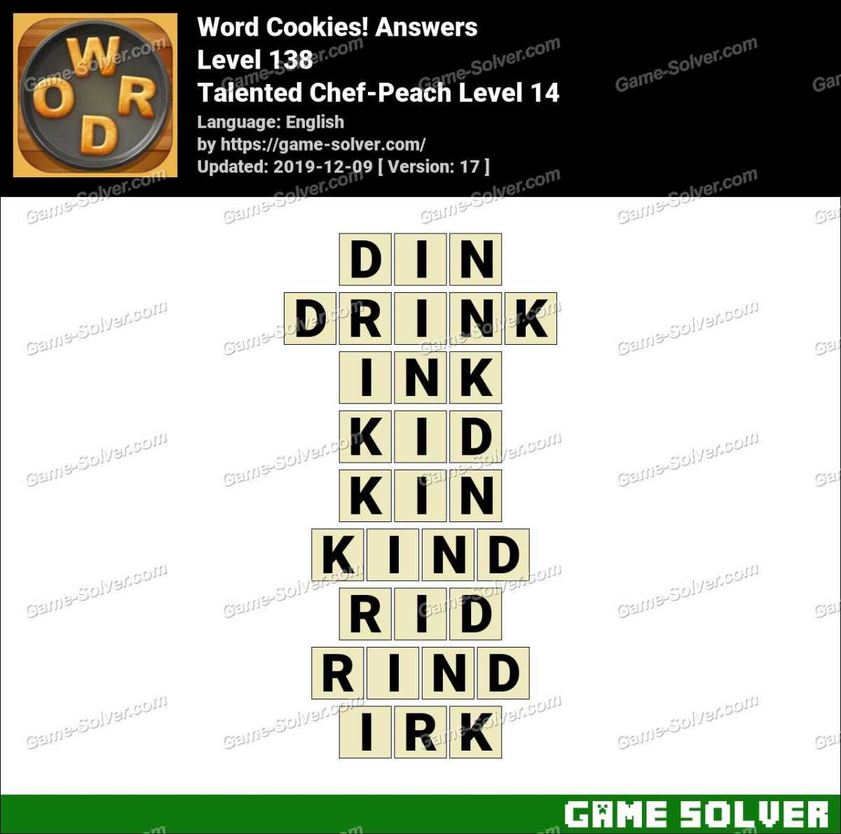 Word Cookies Talented Chef-Peach Level 14 Answers
