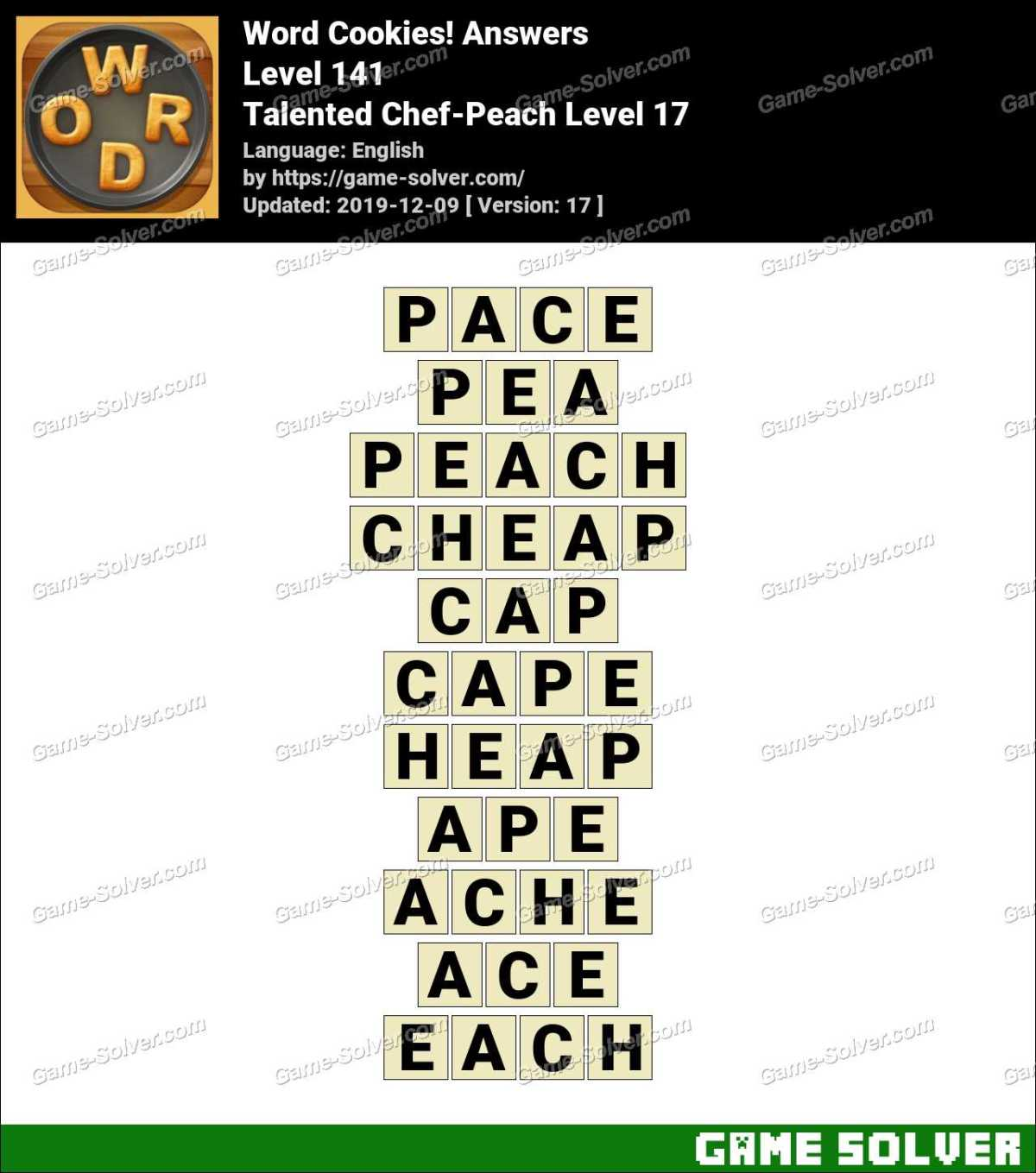 Word Cookies Talented Chef-Peach Level 17 Answers