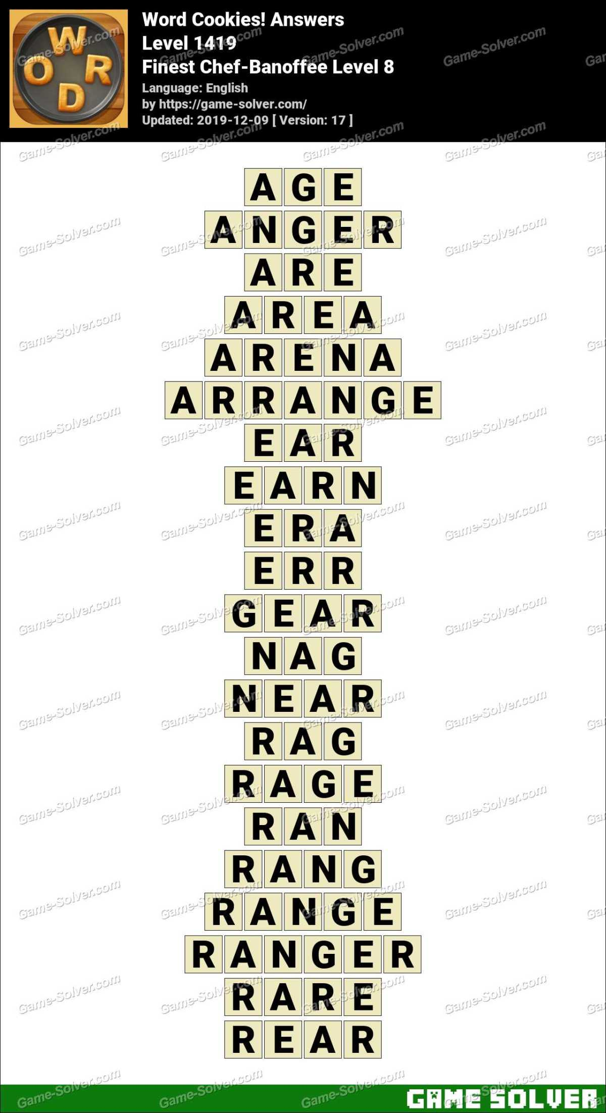 Word Cookies Finest Chef-Banoffee Level 8 Answers