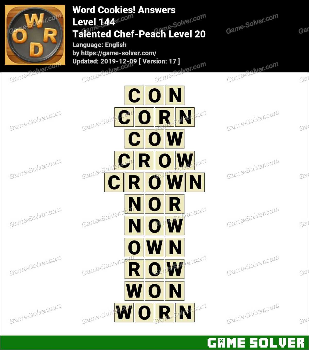 Word Cookies Talented Chef-Peach Level 20 Answers