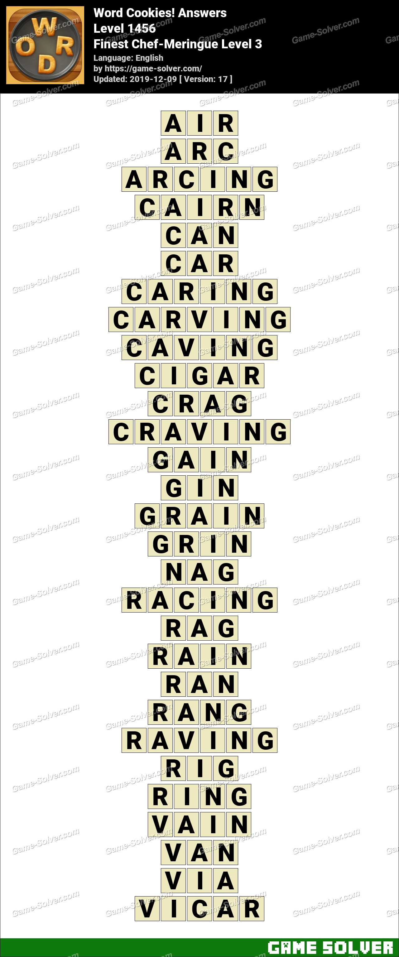 Word Cookies Finest Chef-Meringue Level 3 Answers