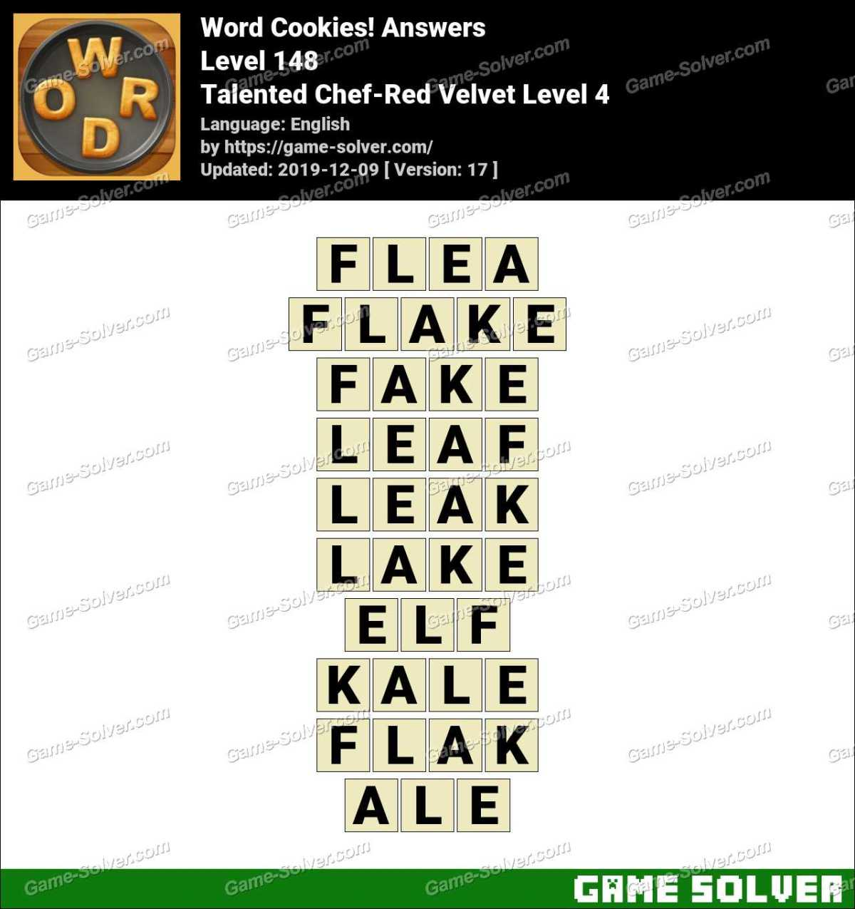 Word Cookies Talented Chef-Red Velvet Level 4 Answers