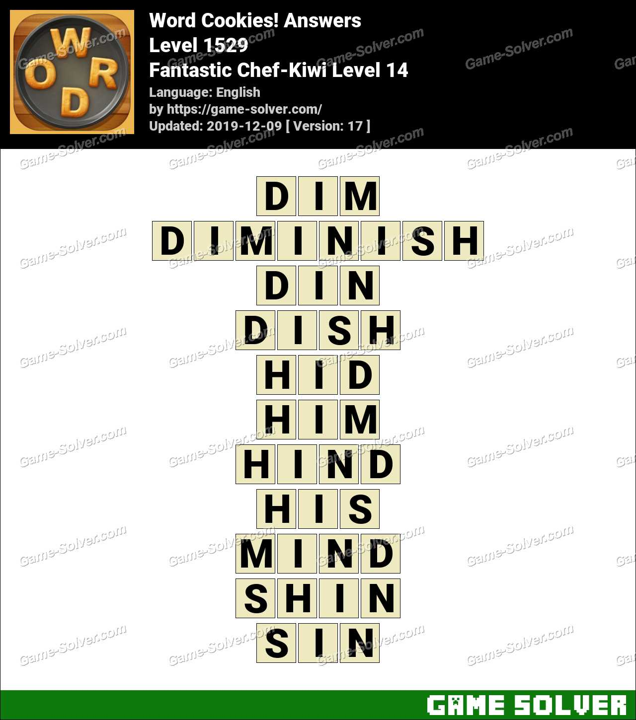 Word Cookies Fantastic Chef-Kiwi Level 14 Answers