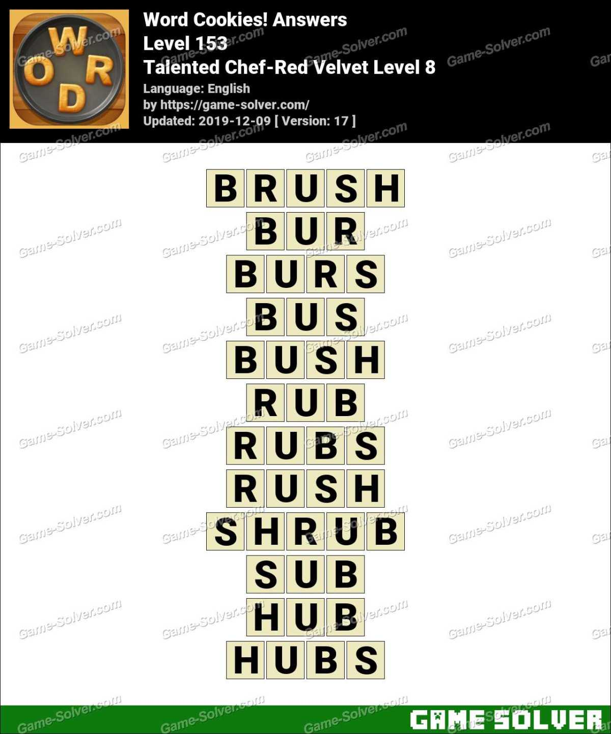 Word Cookies Talented Chef-Red Velvet Level 8 Answers
