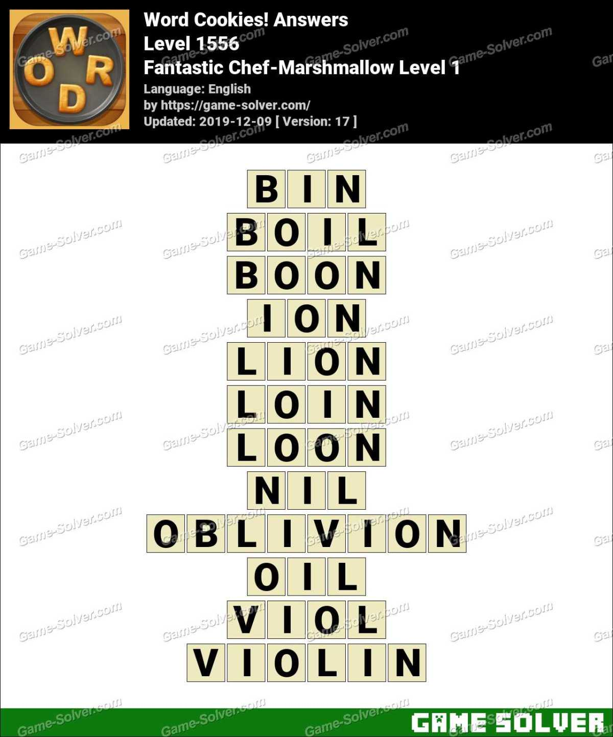 Word Cookies Fantastic Chef-Marshmallow Level 1 Answers