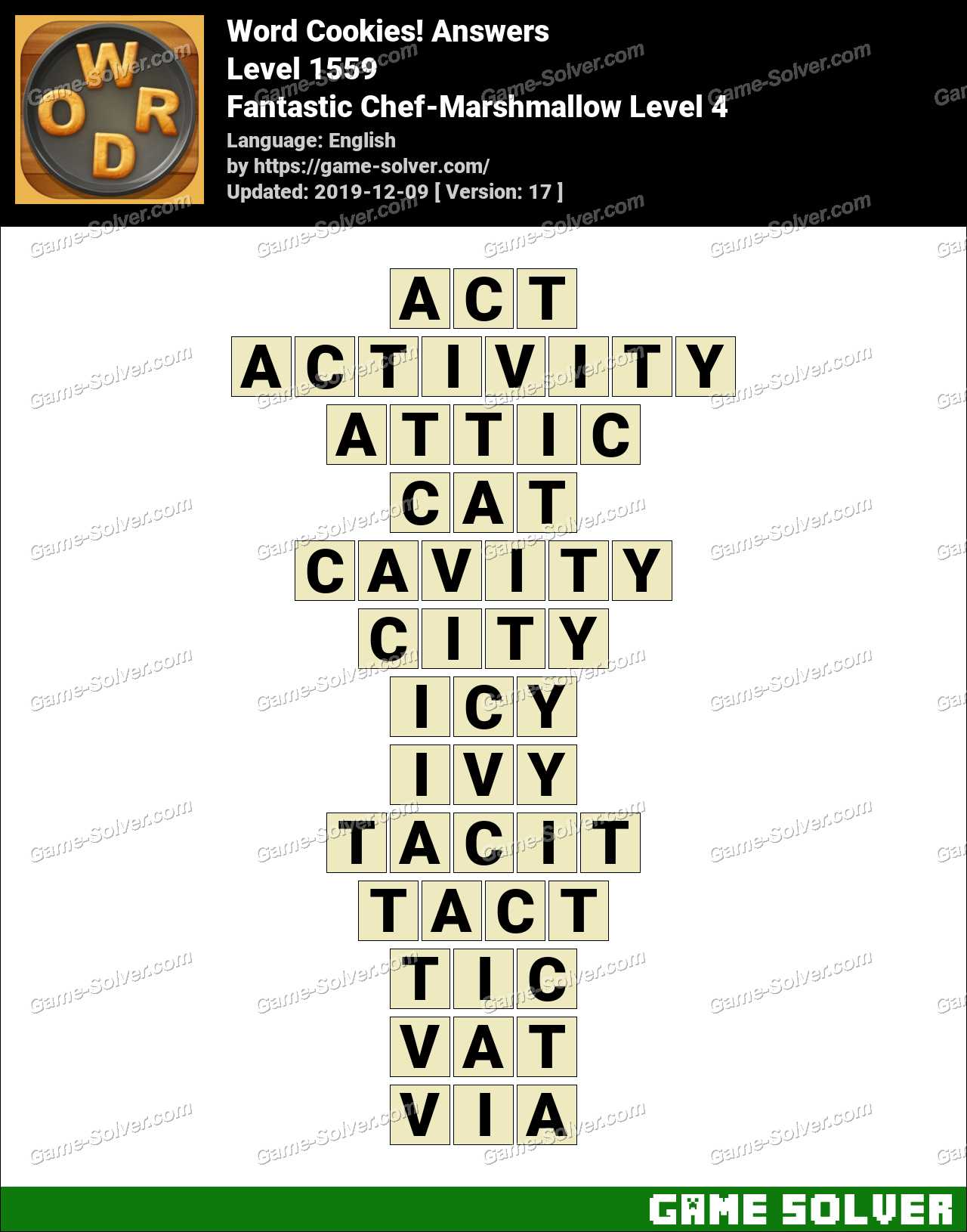 Word Cookies Fantastic Chef-Marshmallow Level 4 Answers