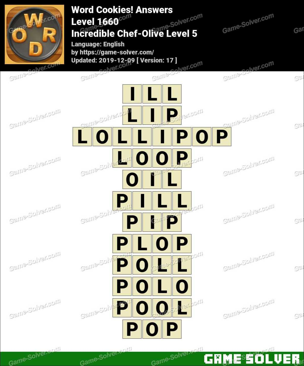 Word Cookies Incredible Chef-Olive Level 5 Answers