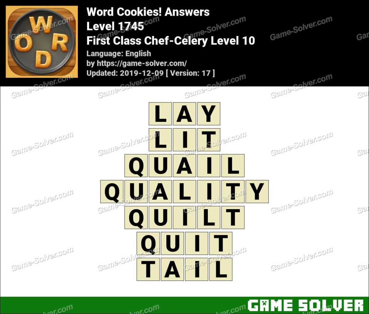 Word Cookies First Class Chef-Celery Level 10 Answers