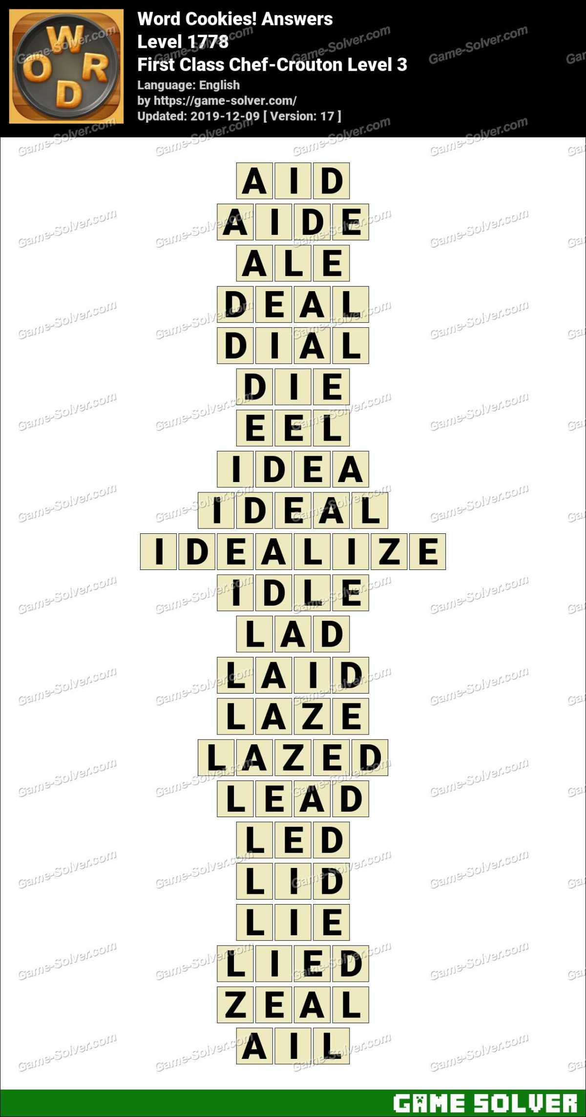 Word Cookies First Class Chef-Crouton Level 3 Answers