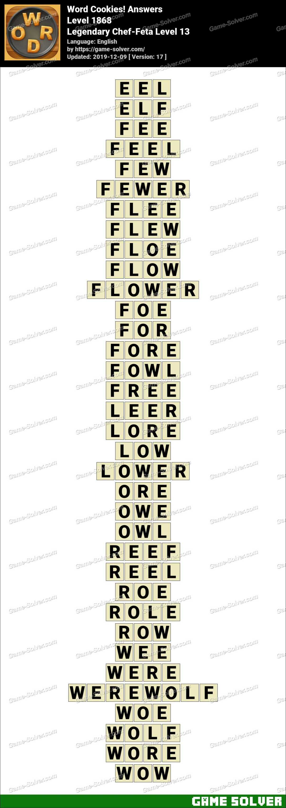 Word Cookies Legendary Chef-Feta Level 13 Answers
