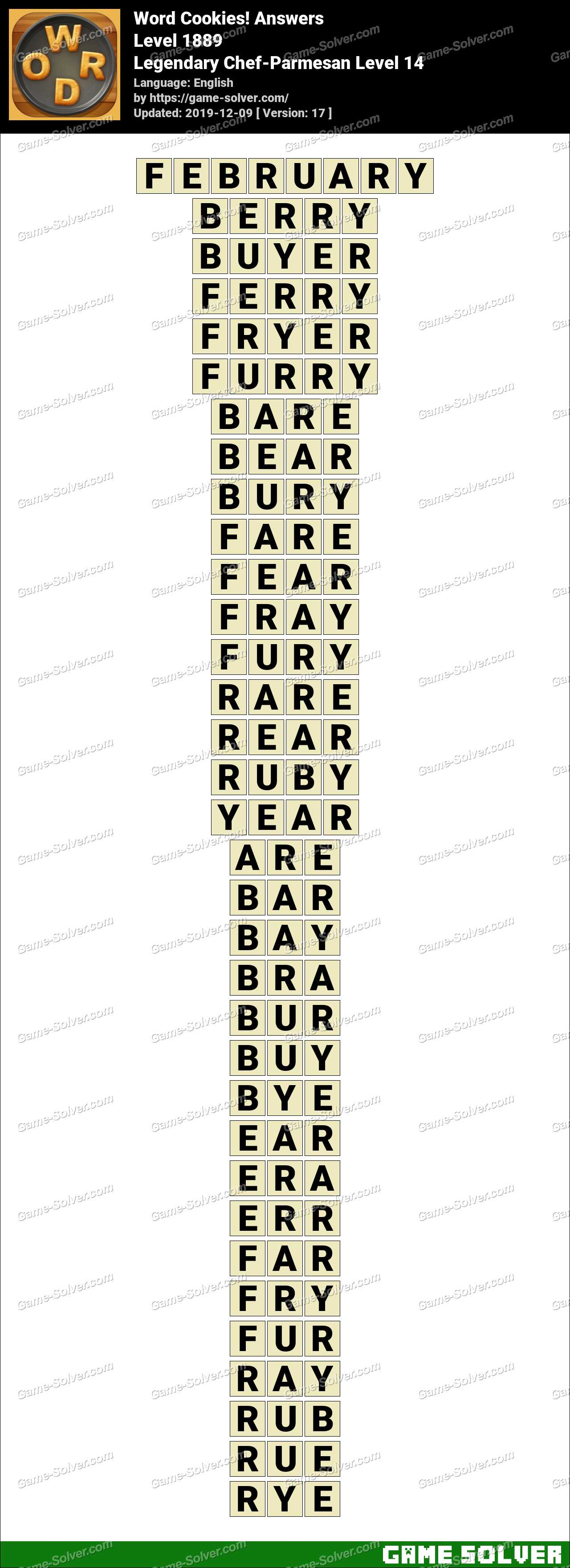 Word Cookies Legendary Chef-Parmesan Level 14 Answers