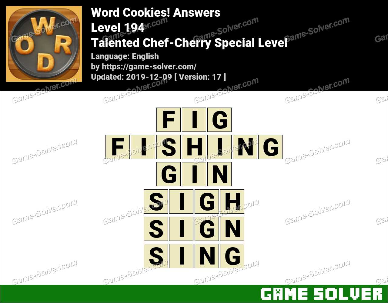Word Cookies Talented Chef-Cherry Special Level Answers