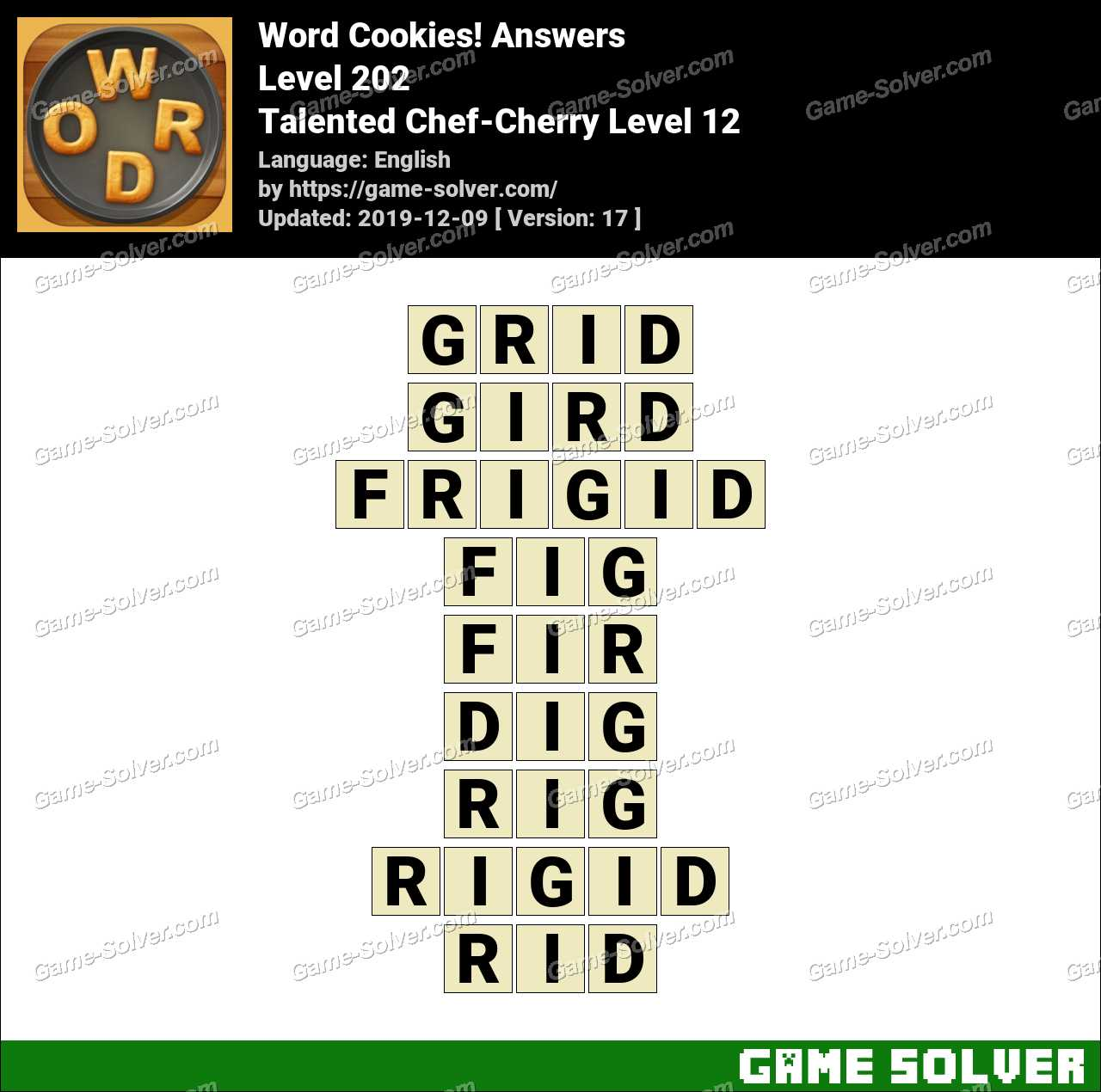 Word Cookies Talented Chef-Cherry Level 12 Answers
