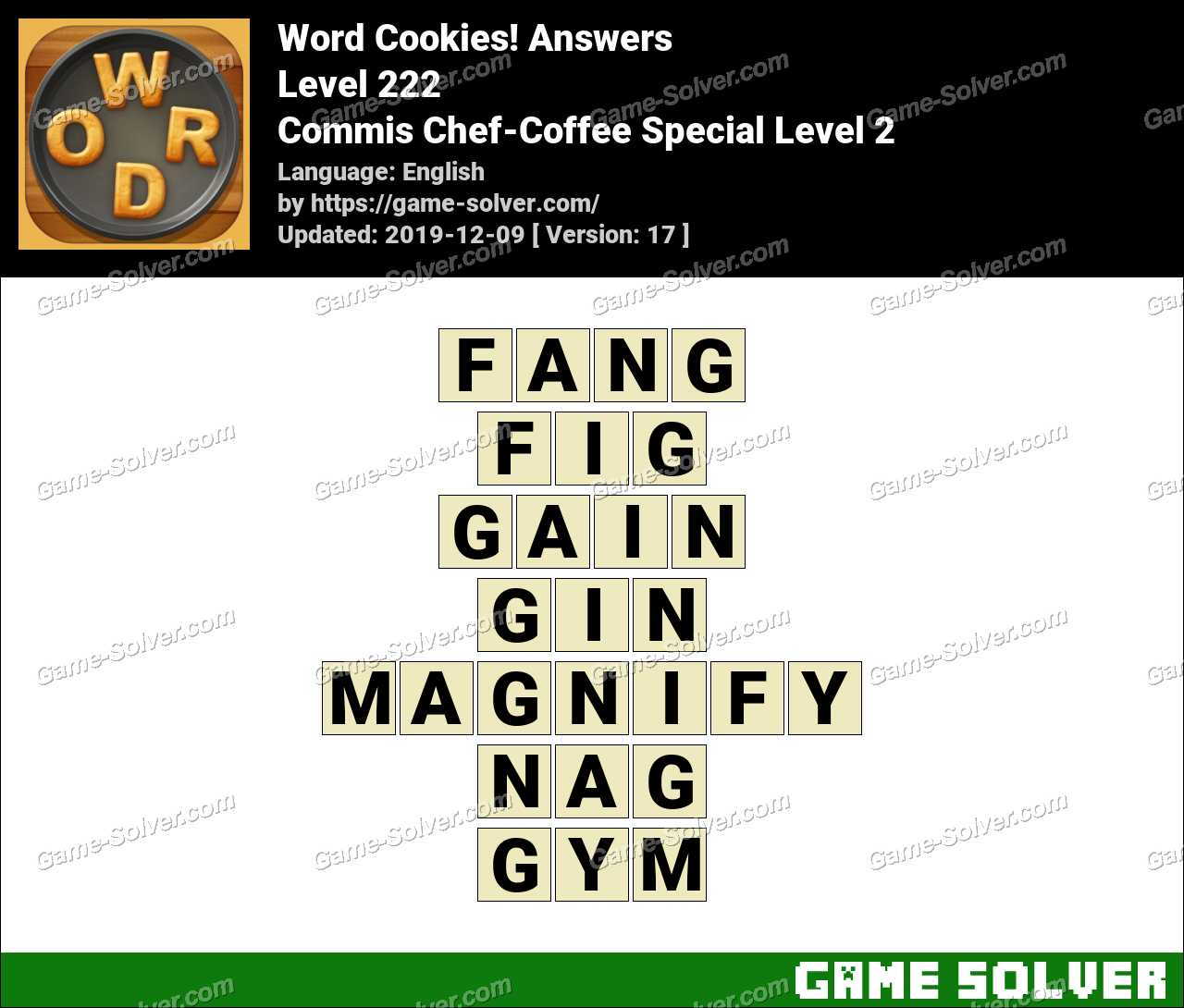 Word Cookies Commis Chef-Coffee Special Level 2 Answers