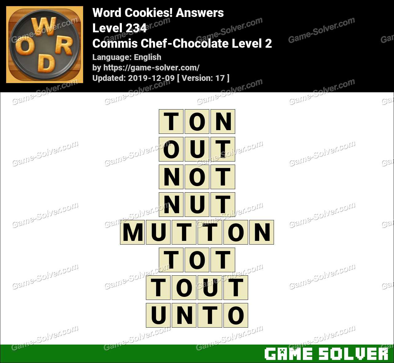 Word Cookies Commis Chef-Chocolate Level 2 Answers