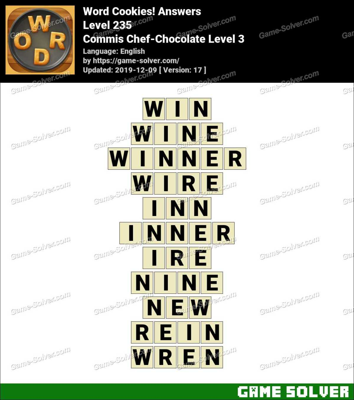 Word Cookies Commis Chef-Chocolate Level 3 Answers