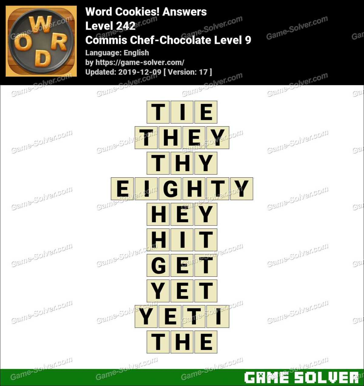 Word Cookies Commis Chef-Chocolate Level 9 Answers