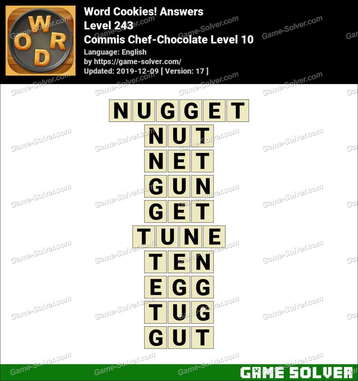 Word Cookies Commis Chef-Chocolate Level 10 Answers