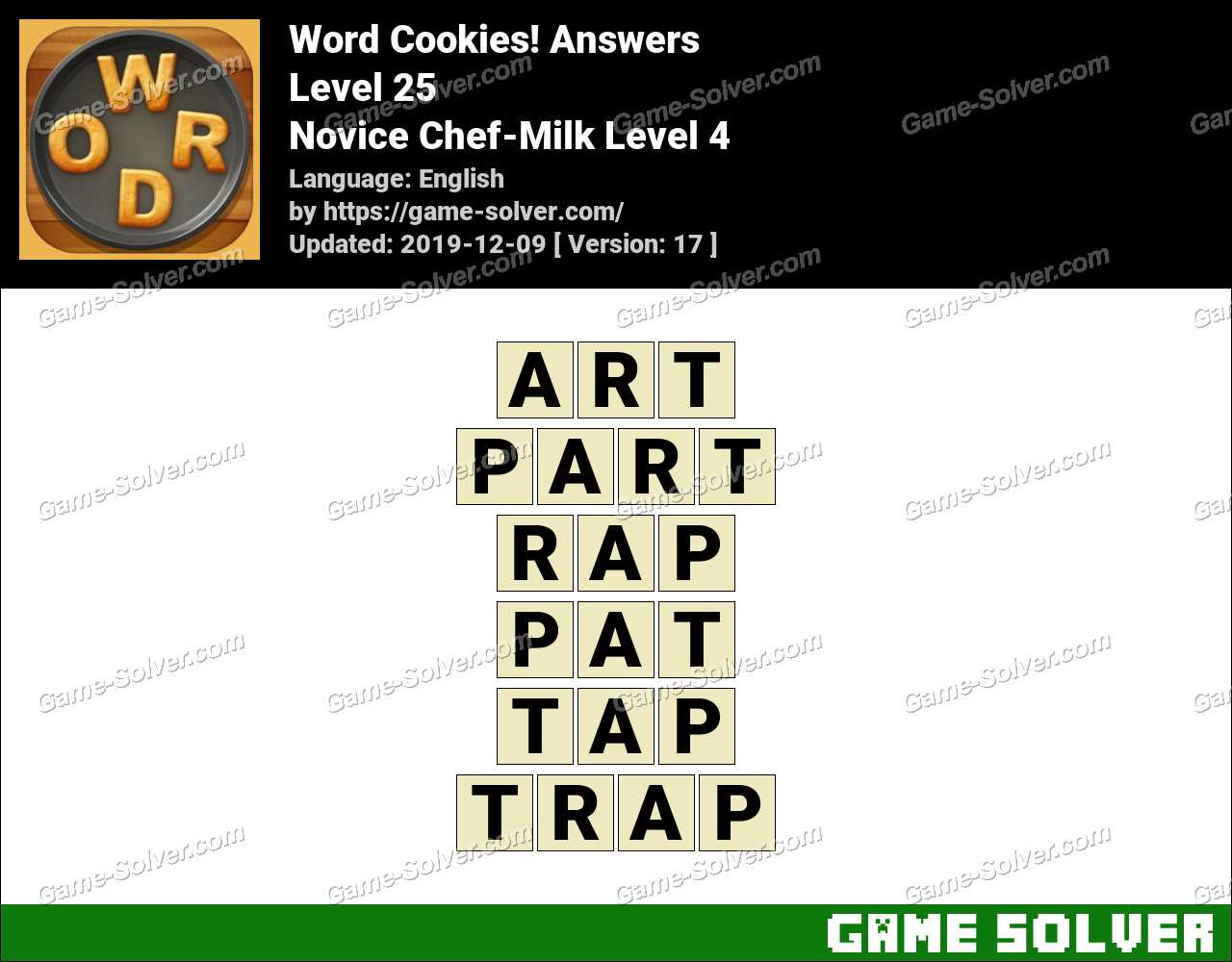 Word Cookies Novice Chef-Milk Level 4 Answers