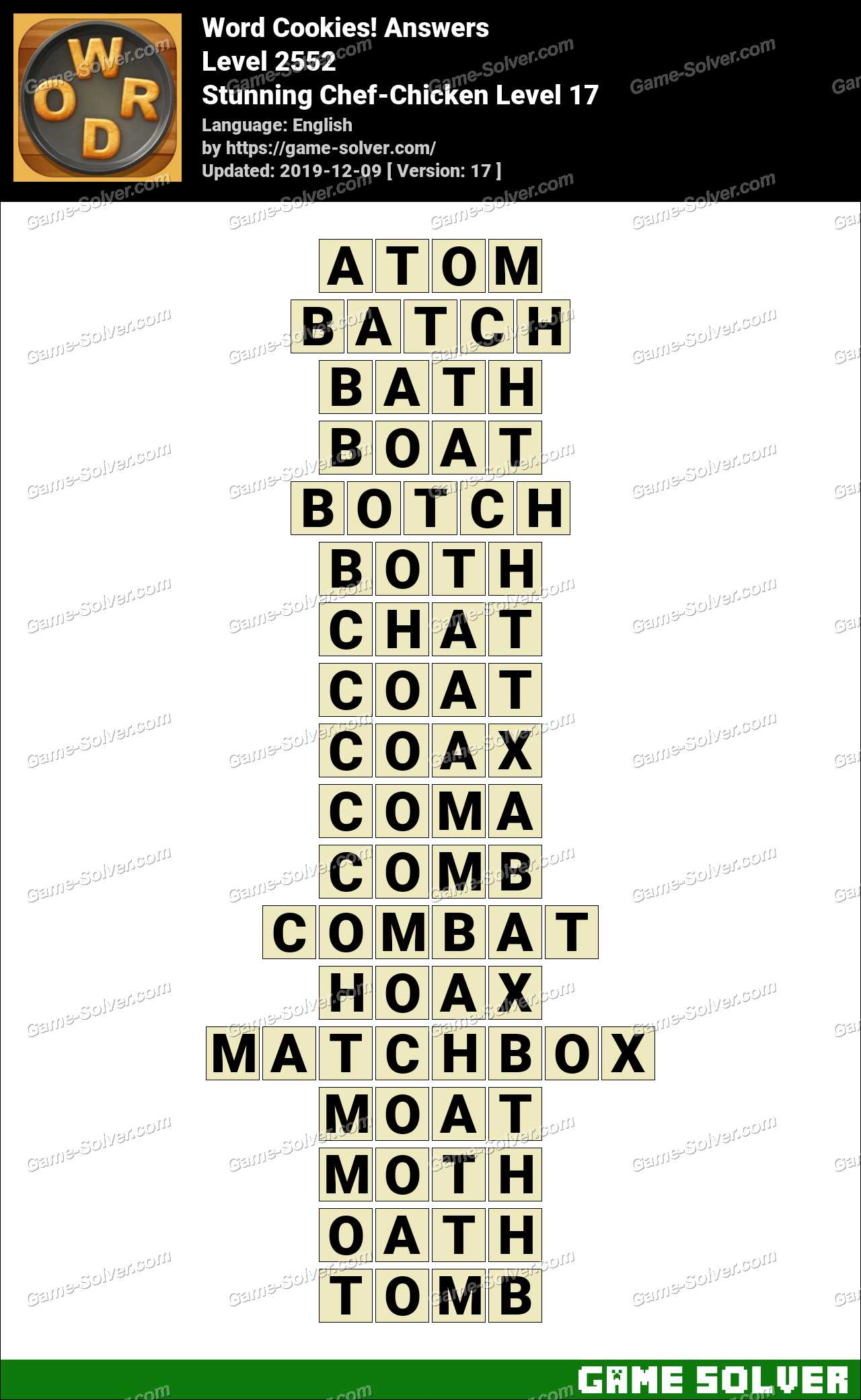 Word Cookies Stunning Chef-Chicken Level 17 Answers