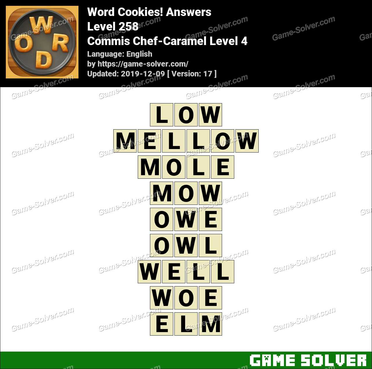 Word Cookies Commis Chef-Caramel Level 4 Answers
