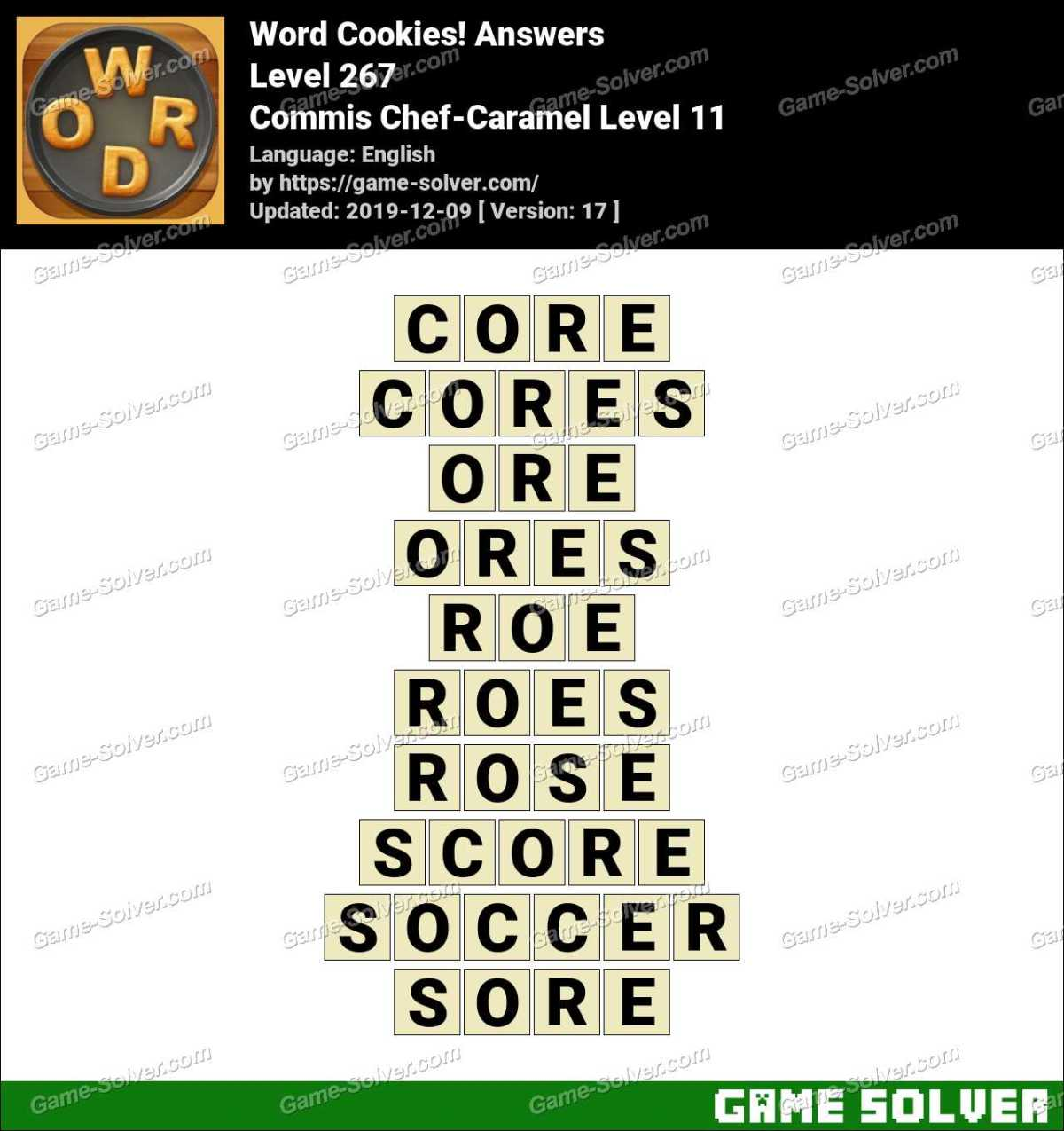 Word Cookies Commis Chef-Caramel Level 11 Answers