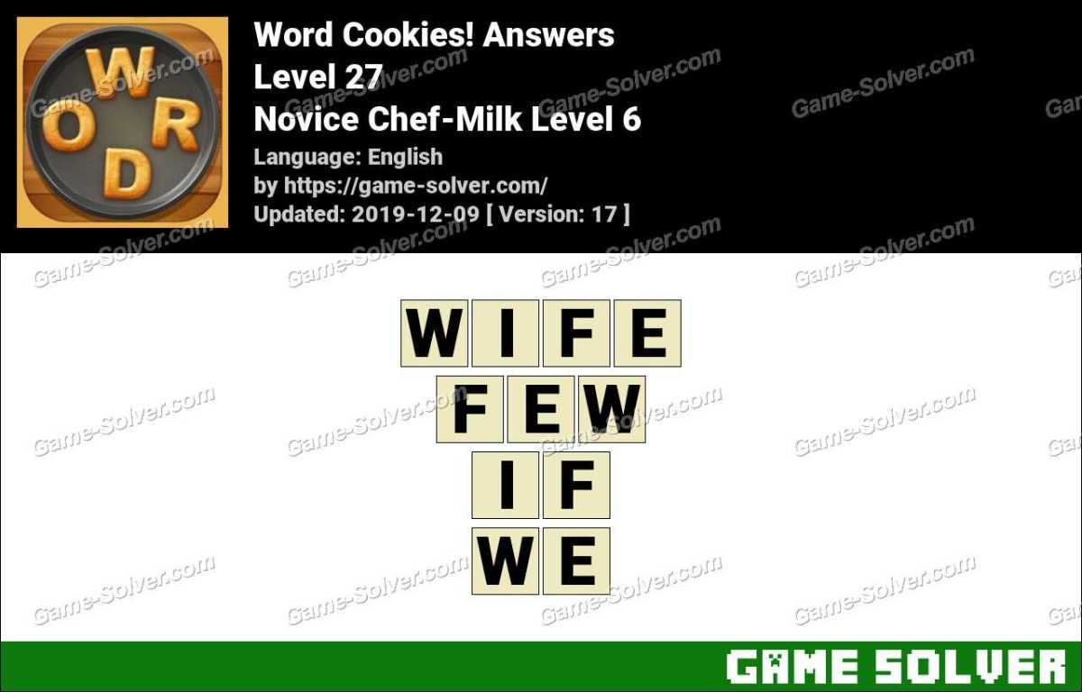 Word Cookies Novice Chef-Milk Level 6 Answers