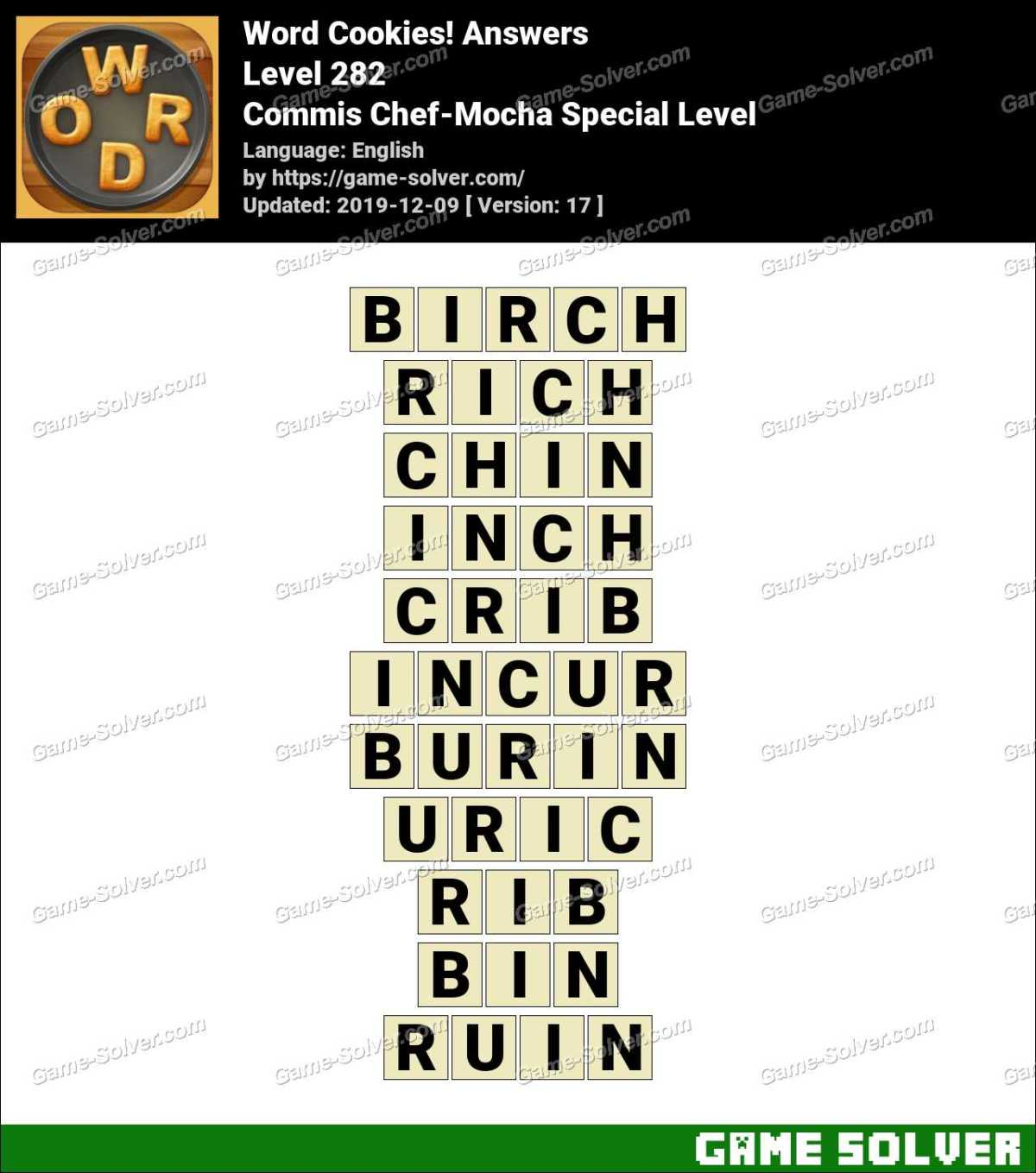 Word Cookies Commis Chef-Mocha Special Level Answers