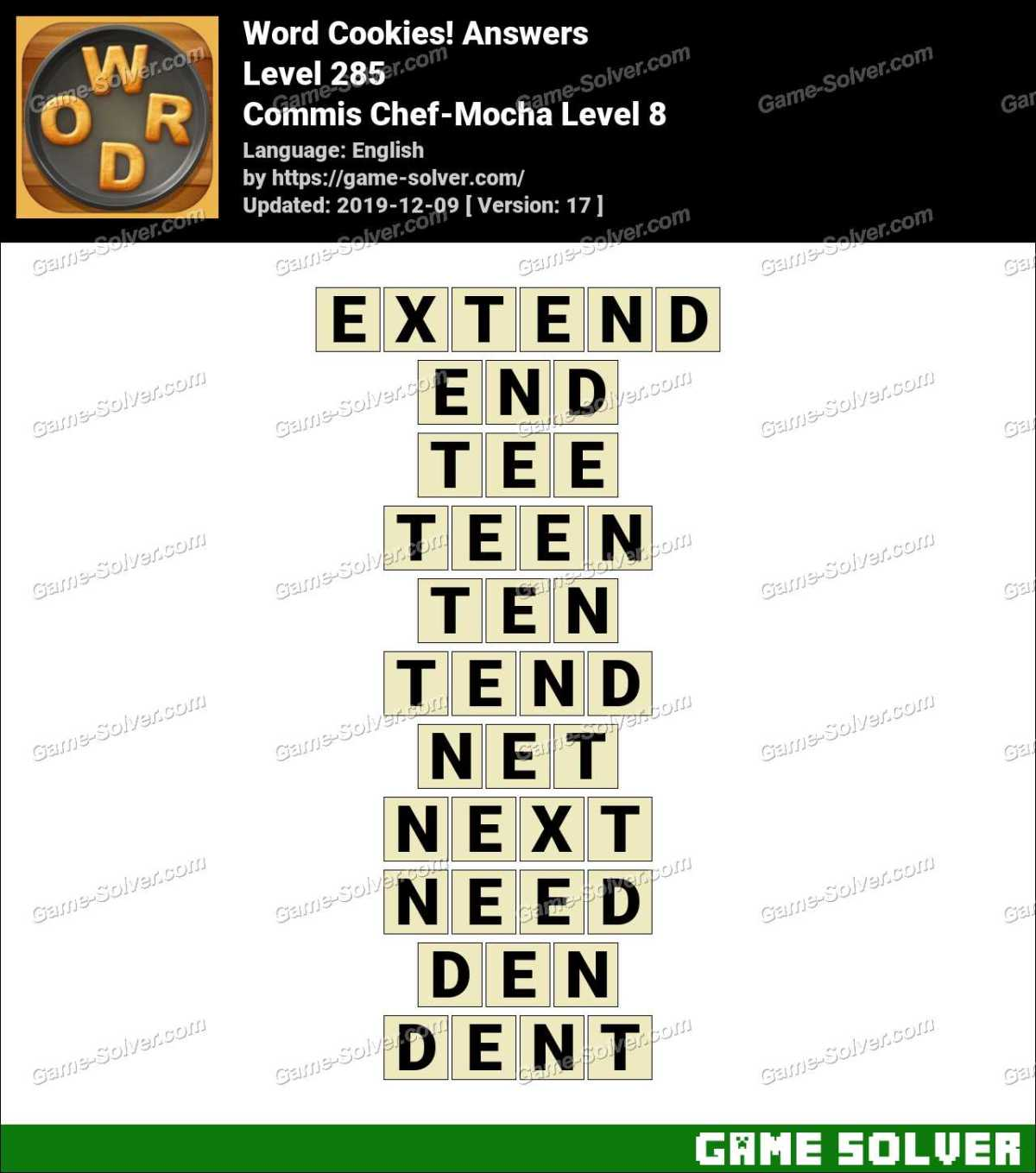 Word Cookies Commis Chef-Mocha Level 8 Answers