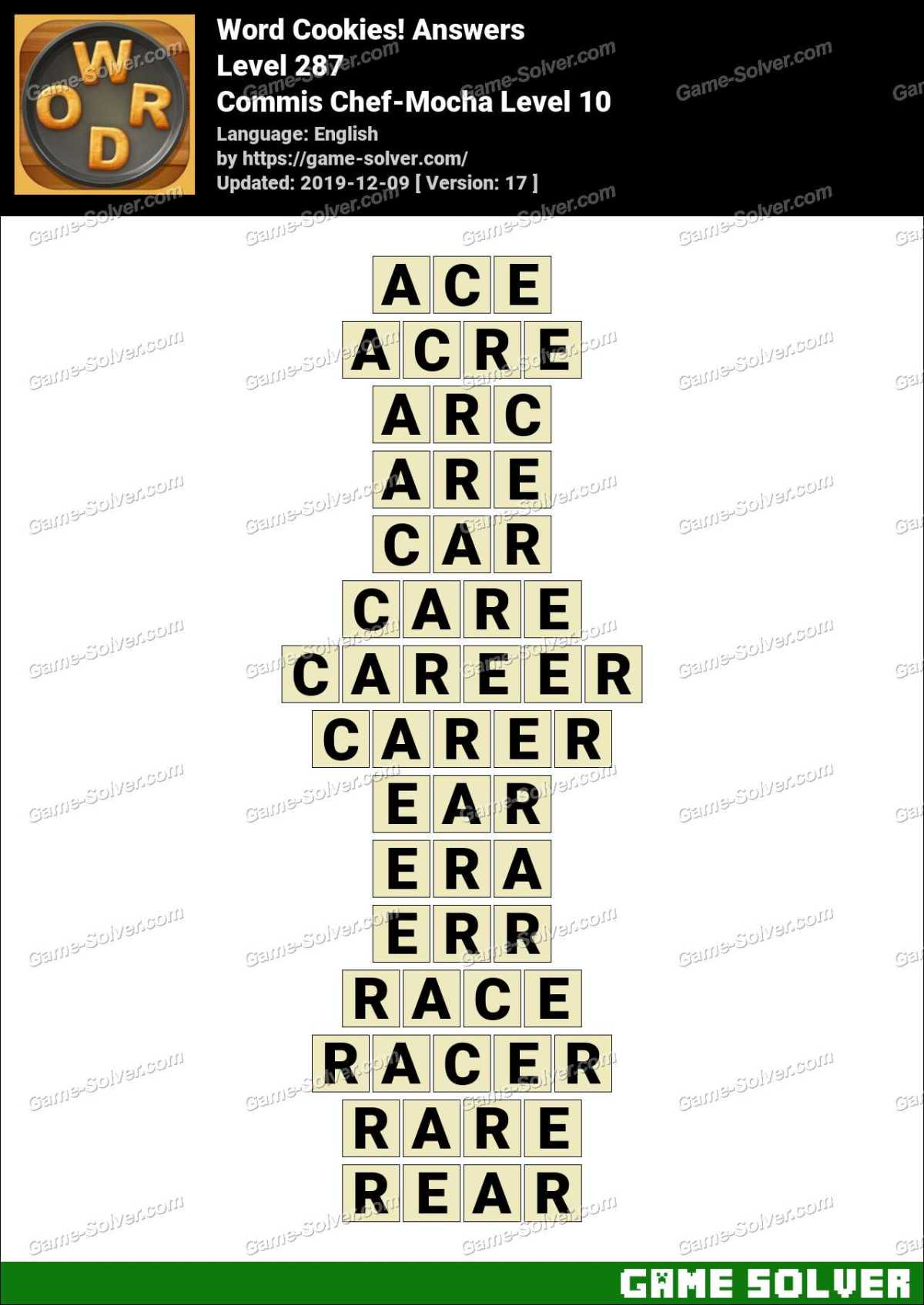 Word Cookies Commis Chef-Mocha Level 10 Answers