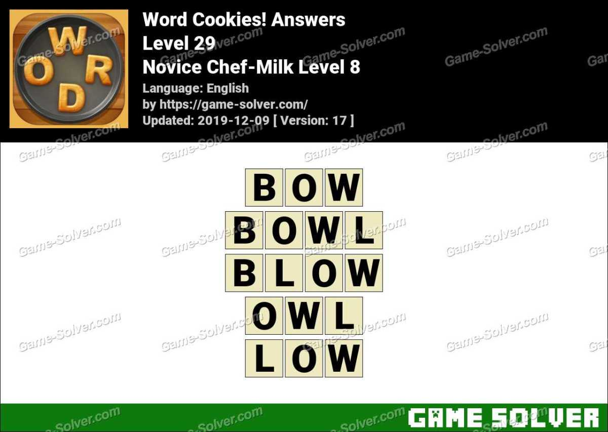 Word Cookies Novice Chef-Milk Level 8 Answers