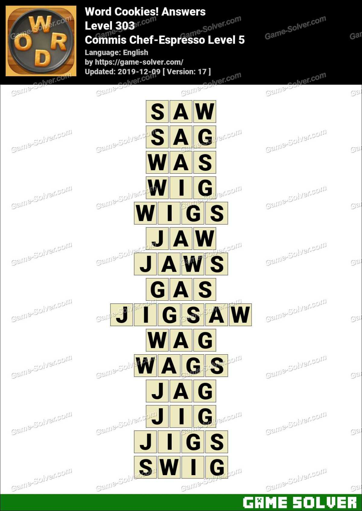 Word Cookies Commis Chef-Espresso Level 5 Answers