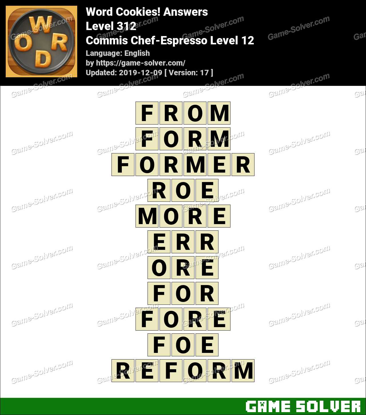 Word Cookies Commis Chef-Espresso Level 12 Answers
