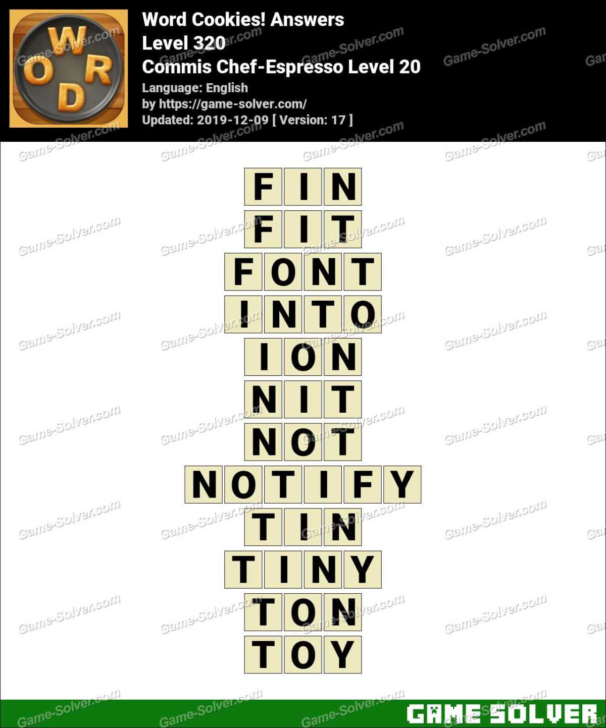 Word Cookies Commis Chef-Espresso Level 20 Answers