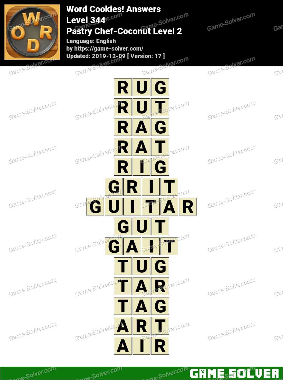 Word Cookies Pastry Chef-Coconut Level 2 Answers