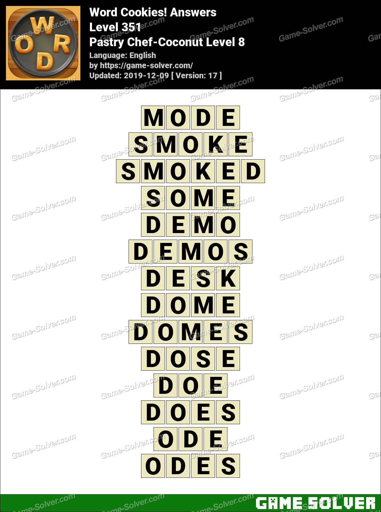 Word Cookies Pastry Chef-Coconut Level 8 Answers