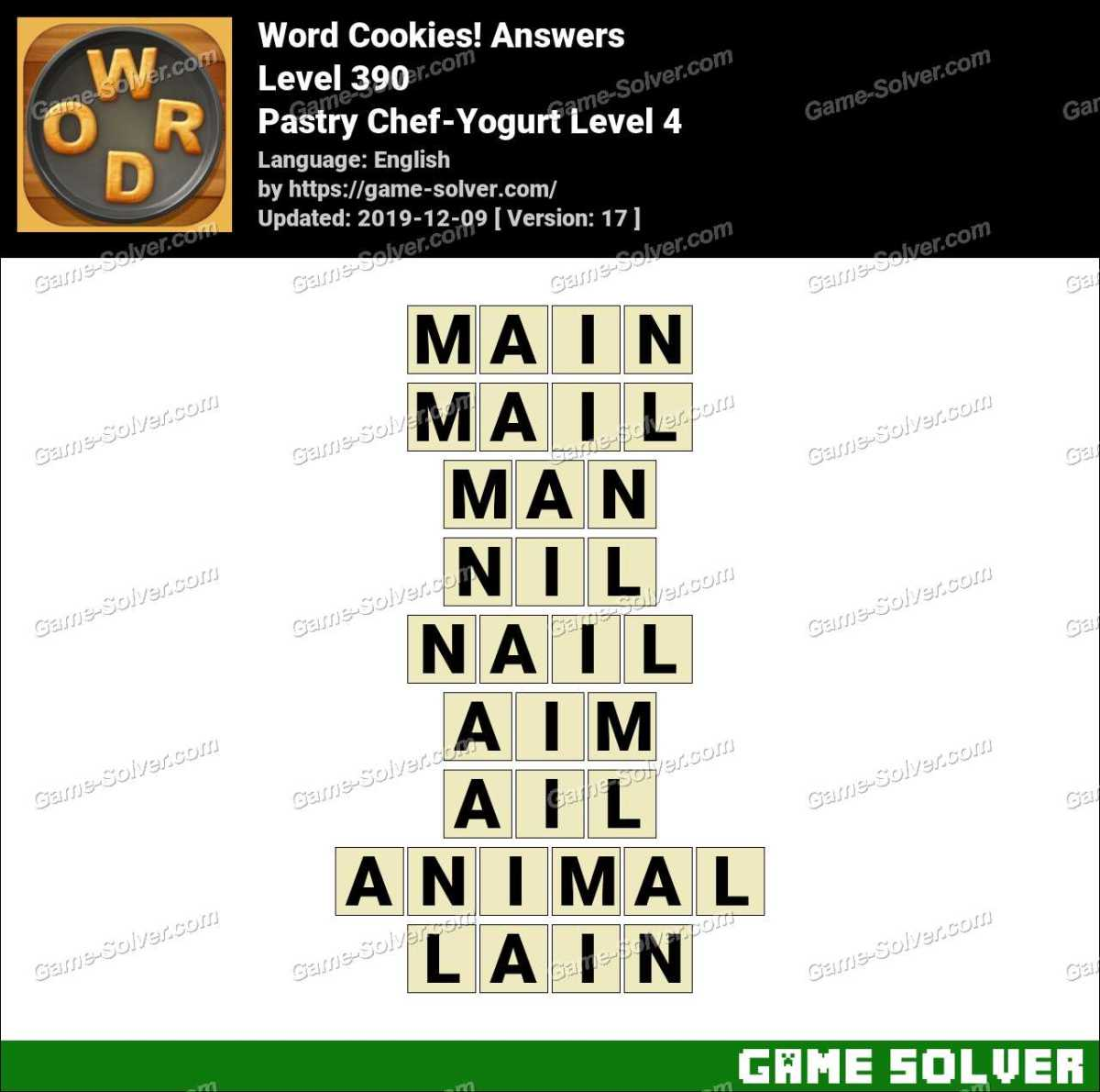 Word Cookies Pastry Chef-Yogurt Level 4 Answers