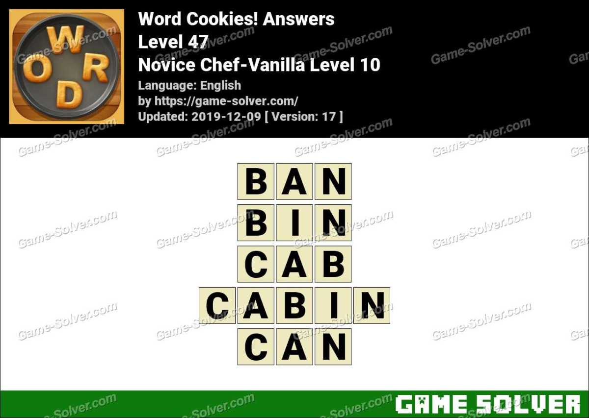Word Cookies Novice Chef-Vanilla Level 10 Answers