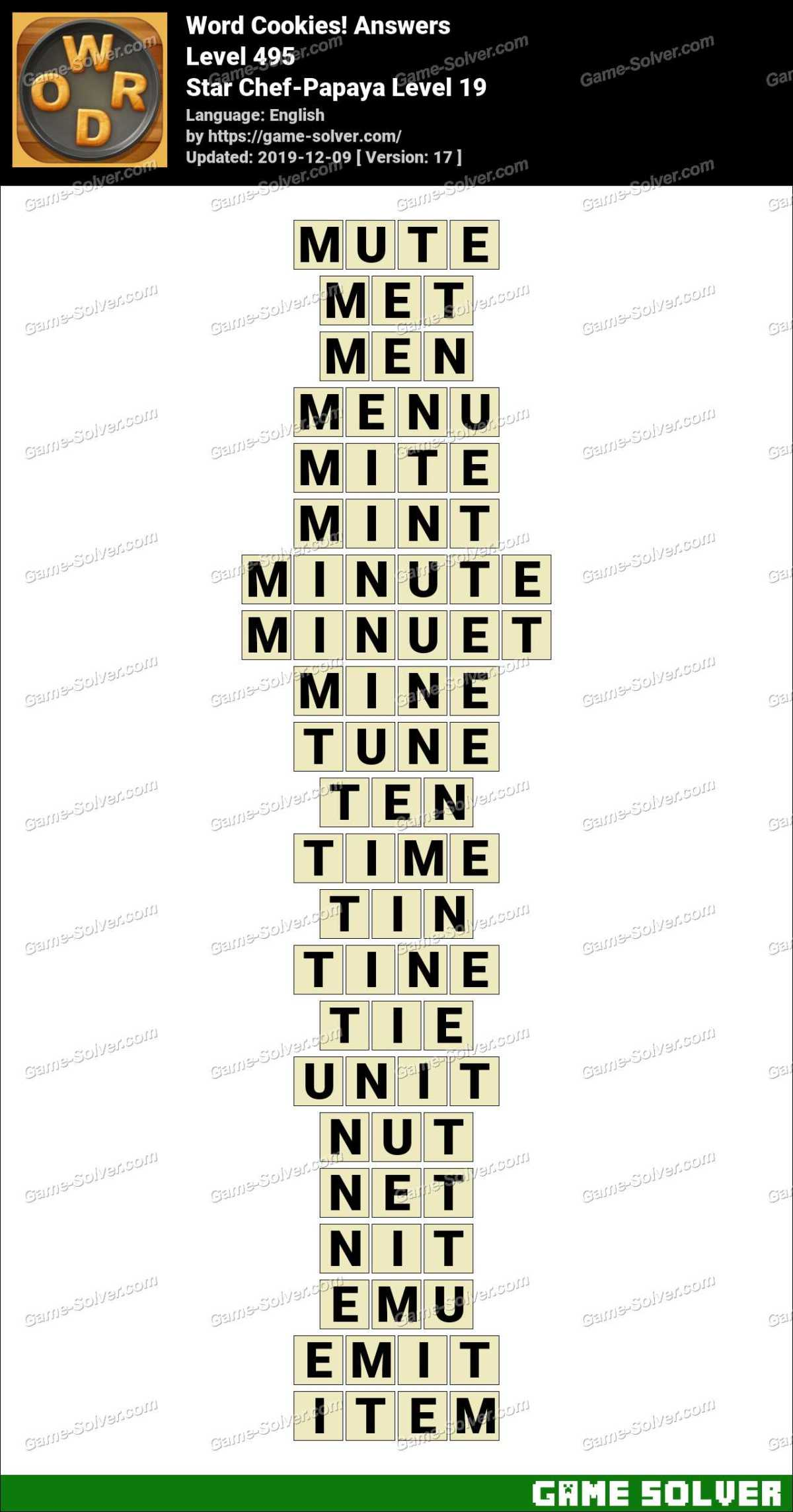 Word Cookies Star Chef-Papaya Level 19 Answers