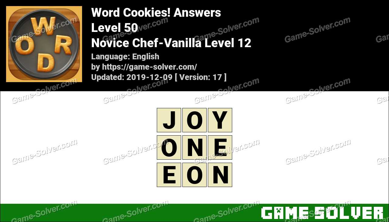 Word Cookies Novice Chef-Vanilla Level 12 Answers