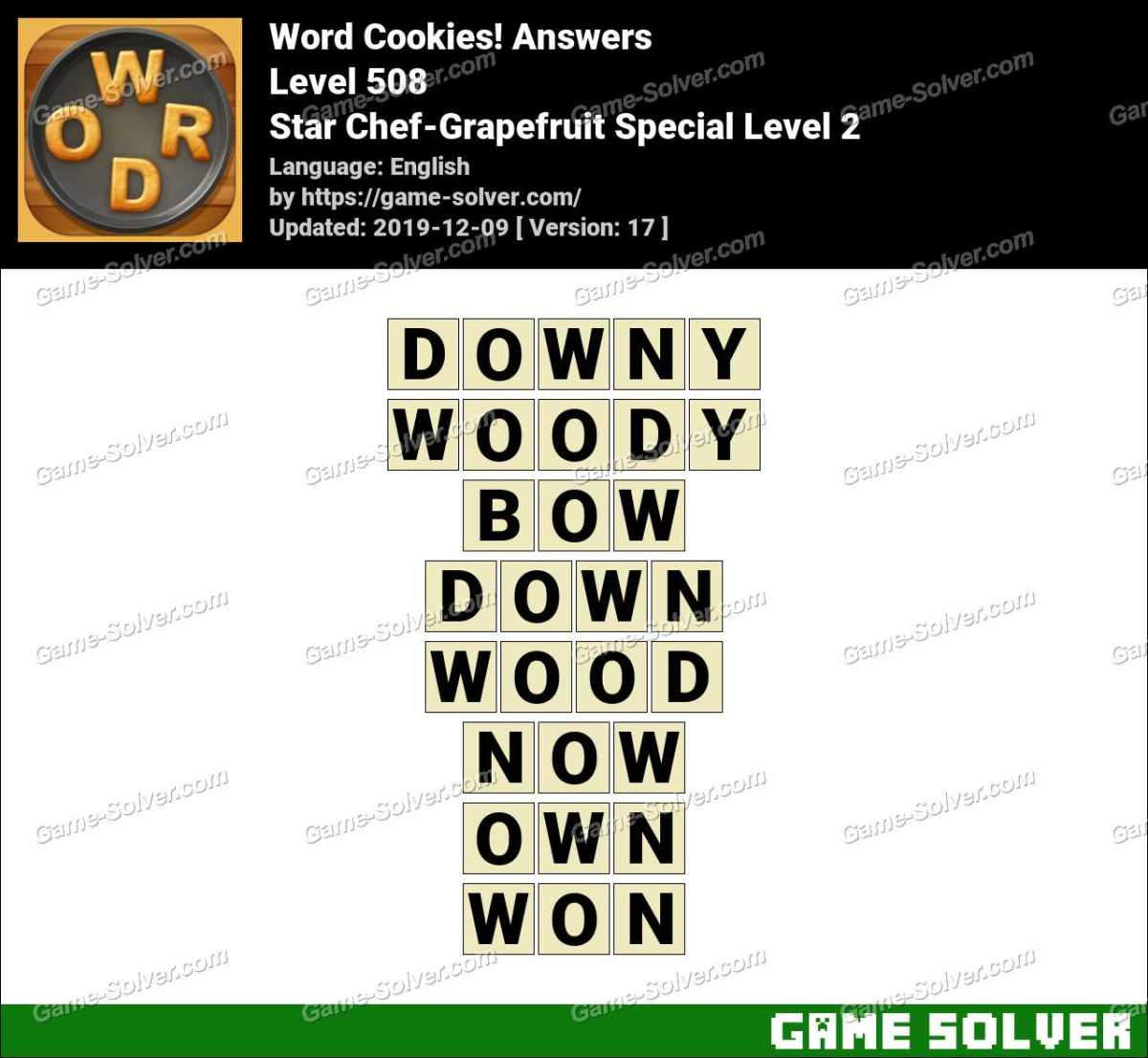Word Cookies Star Chef-Grapefruit Special Level 2 Answers