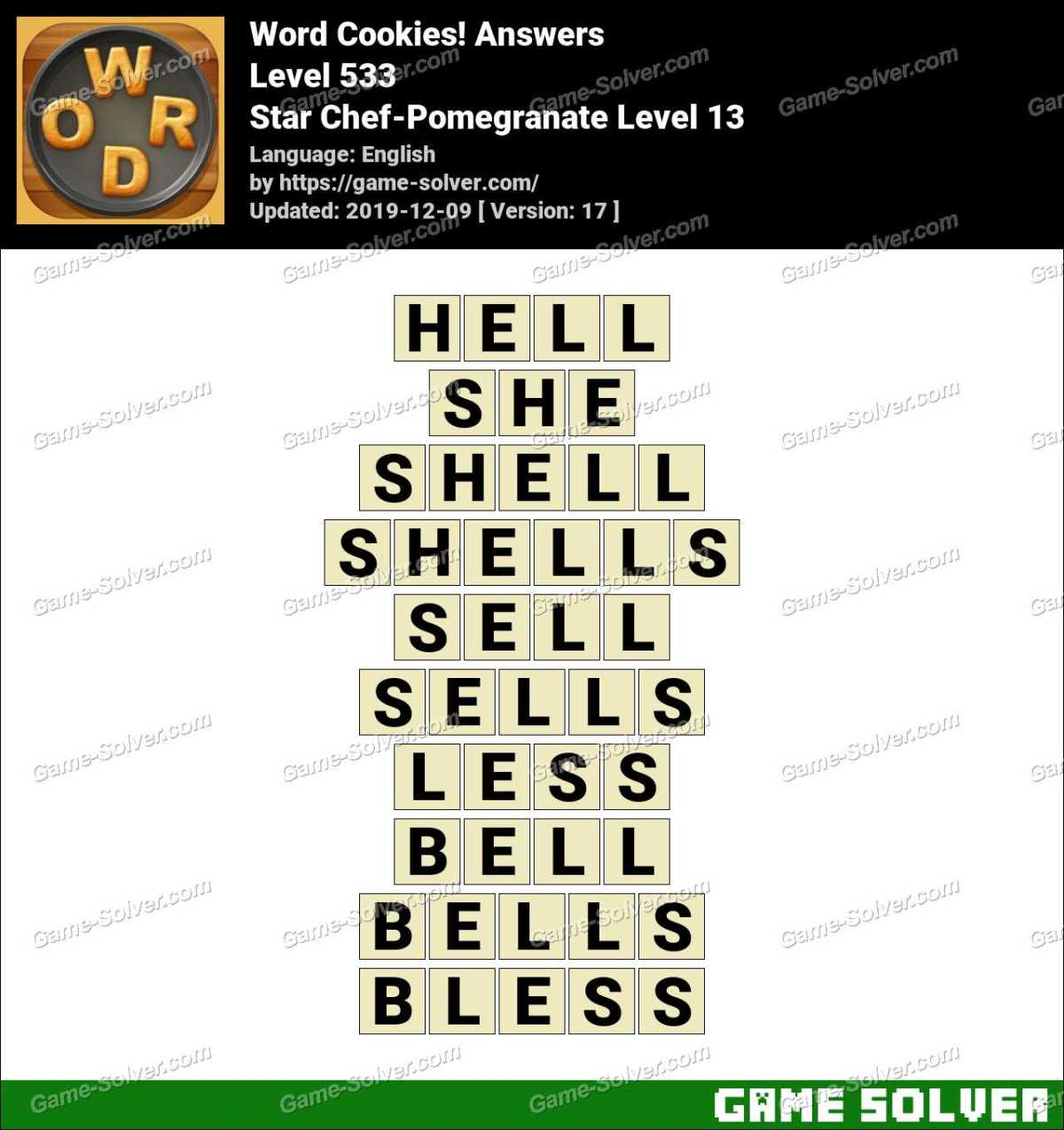 Word Cookies Star Chef-Pomegranate Level 13 Answers