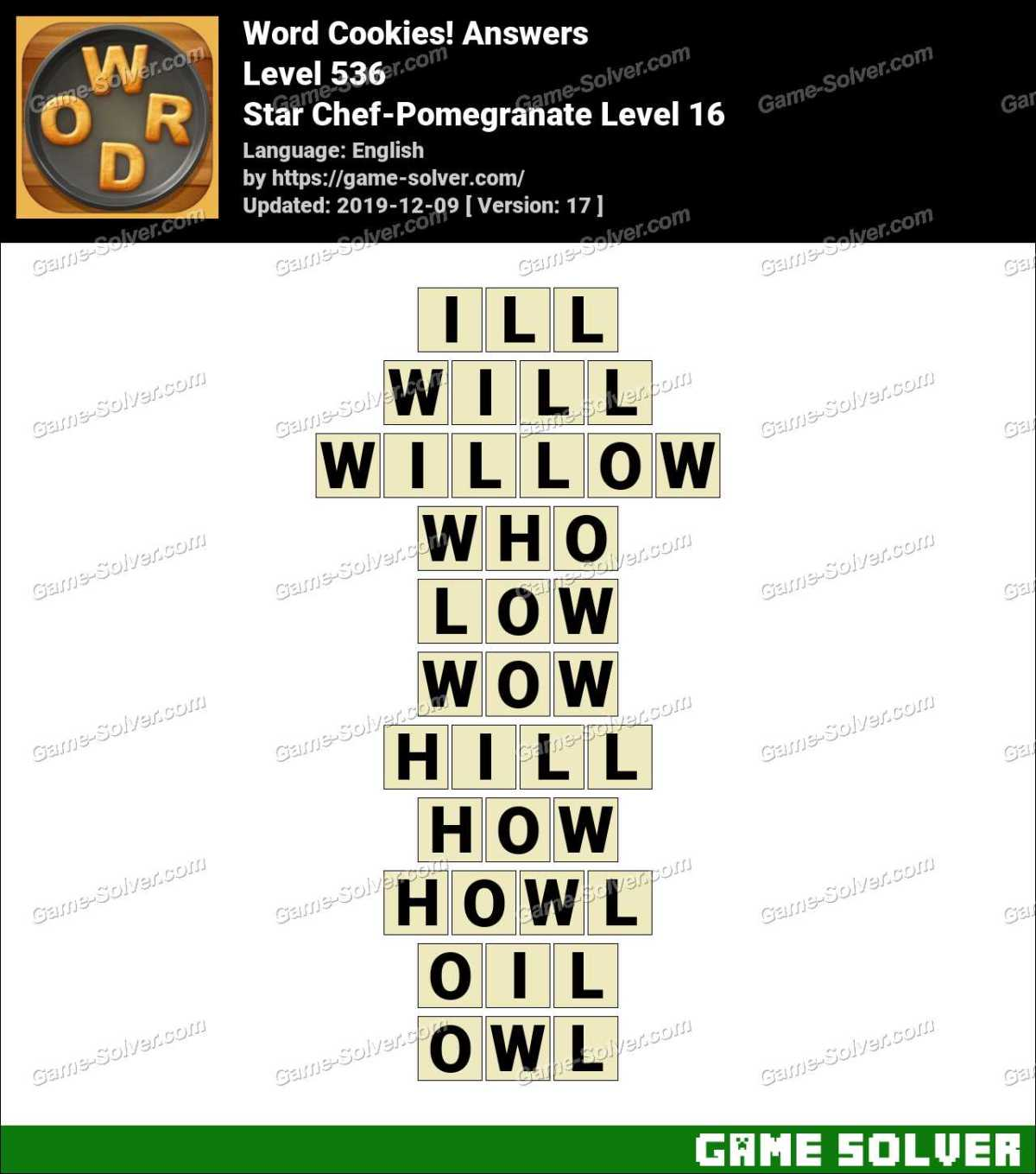 Word Cookies Star Chef-Pomegranate Level 16 Answers