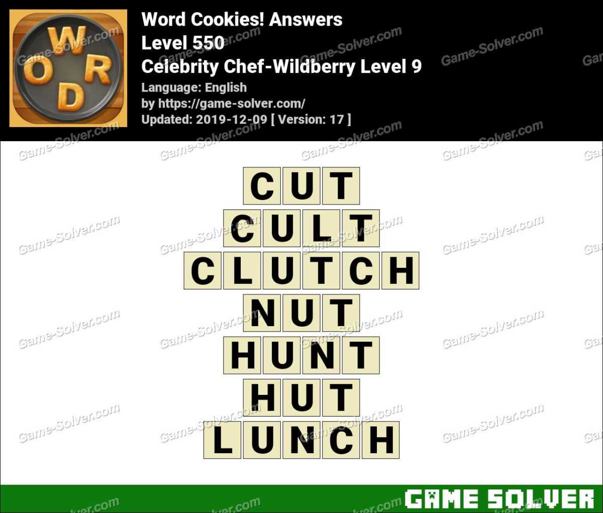 Word Cookies Celebrity Chef-Wildberry Level 9 Answers