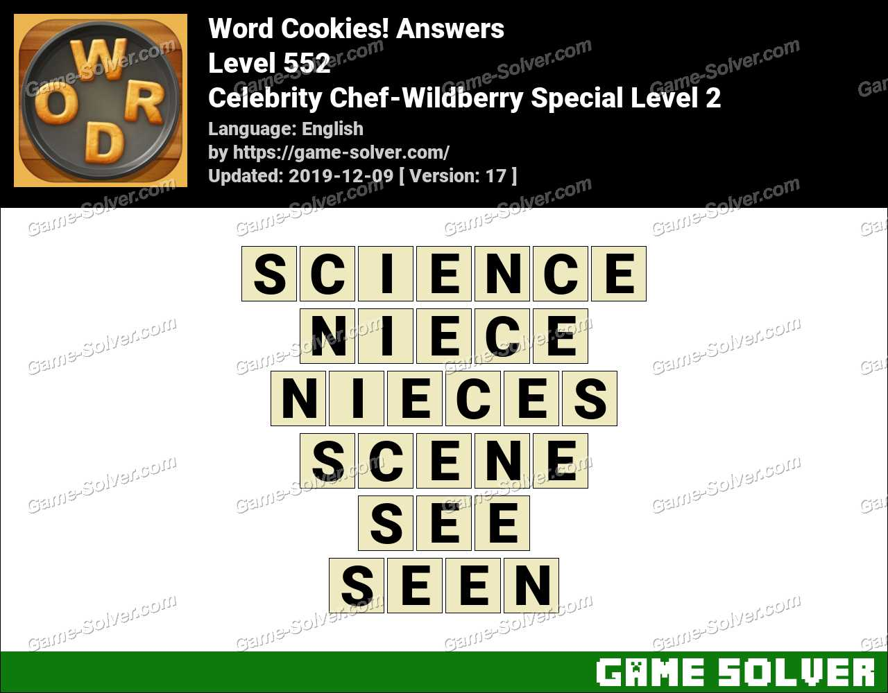 Word Cookies Celebrity Chef-Wildberry Special Level 2 Answers