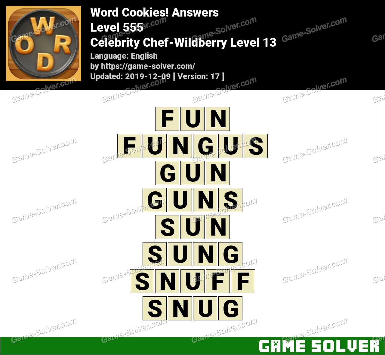 Word Cookies Celebrity Chef-Wildberry Level 13 Answers