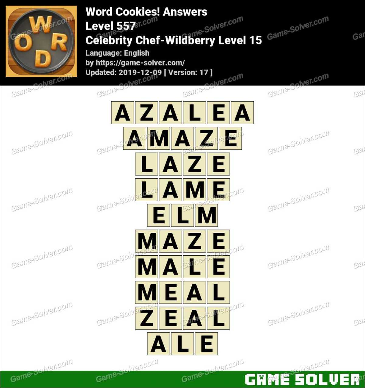 Word Cookies Celebrity Chef-Wildberry Level 15 Answers