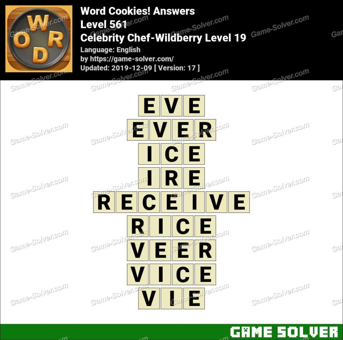 Word Cookies Celebrity Chef-Wildberry Level 19 Answers