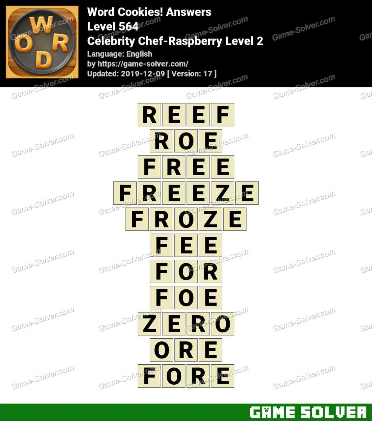 Word Cookies Celebrity Chef-Raspberry Level 2 Answers