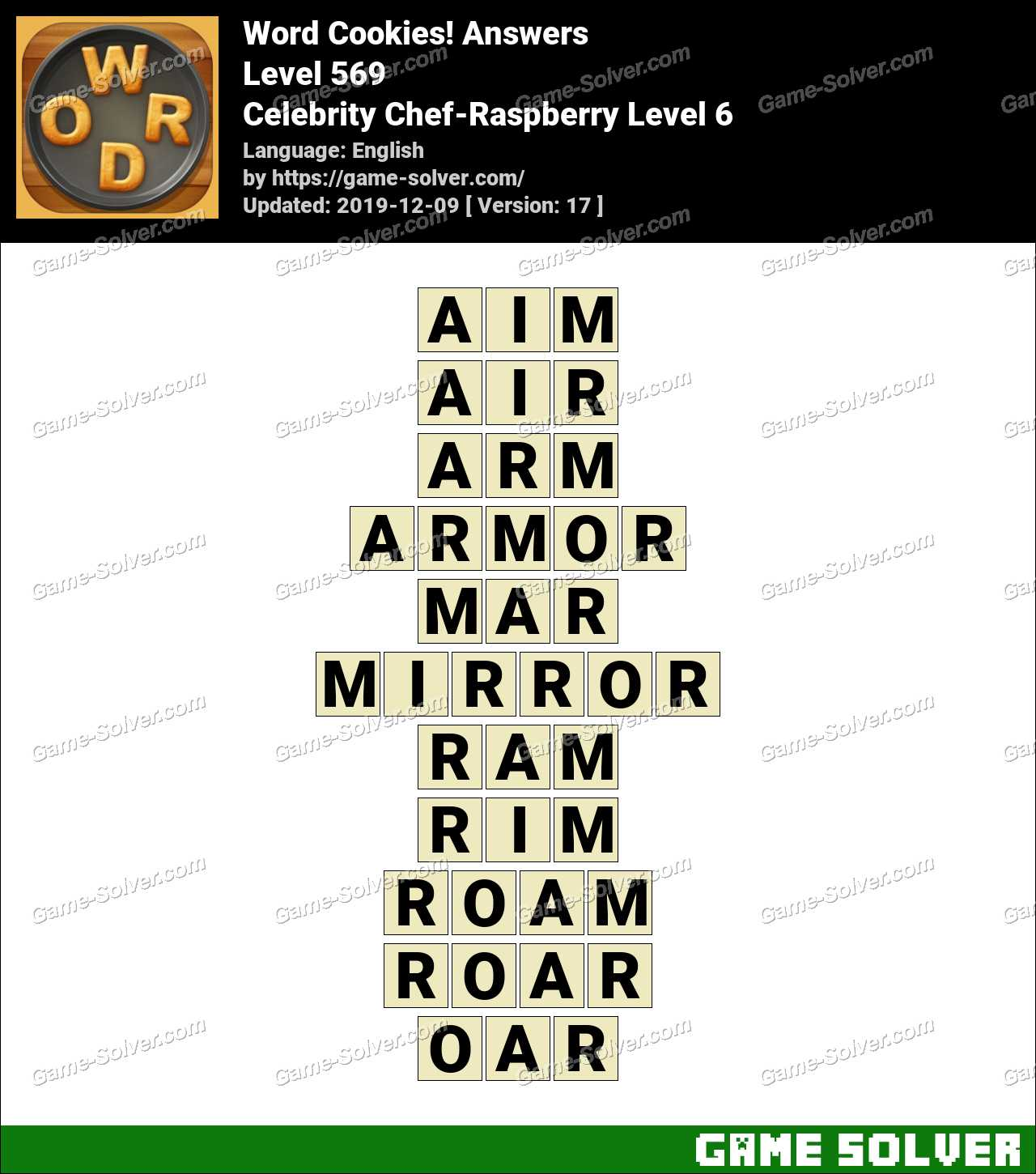 Word Cookies Celebrity Chef-Raspberry Level 6 Answers